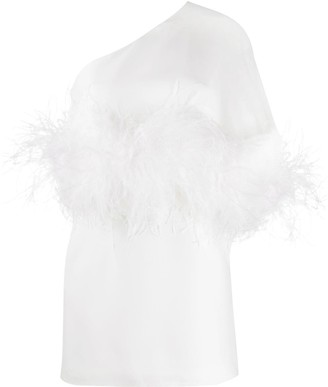 16Arlington Feather Waist One-Shoulder Dress