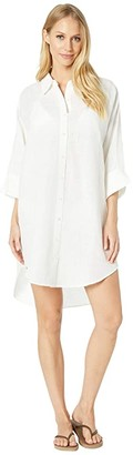 Seafolly Linen Shirtdress Cover-Up (White) Women's Swimwear