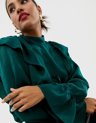 ASOS DESIGN waisted long sleeve blouse with ruffle detail