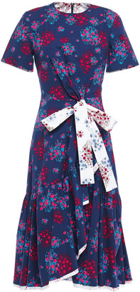 Carolina Herrera Bow-detailed Floral-print Stretch-cotton Poplin Dress