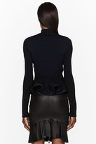 McQ by Alexander McQueen Black and navy leather-trimmed Knit Jacket
