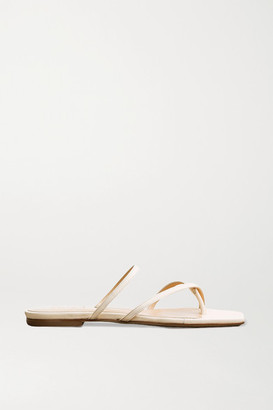 AEYDĒ Marina Leather Slides - Cream