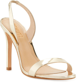 Schutz Luriane Metallic Leather Slingback Sandals