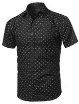 TOP LEGGING TL Men's Dressy Short Sleeve Oxford or Printed Woven Button Down Shirts L