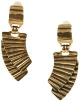 Oscar de la Renta Brass Metal Plated Fan Clip On Drop Earrings