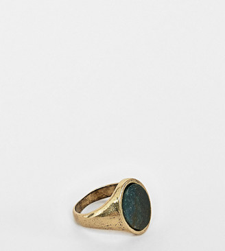 Reclaimed Vintage inspired signet ring with semi precious Stone exclusive at ASOS