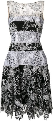 Talbot Runhof Floral Embroidered Midi Dress
