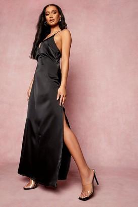boohoo Satin Plunge Strappy Back Bridesmaid Dress