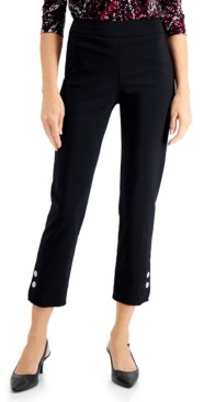 JM Collection Petite Pull-On Button-Hem Pants, Created for Macy's
