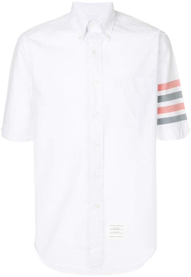 Thom Browne Short Sleeve Shirt With Woven 4-Bar Stripe In White Poplin