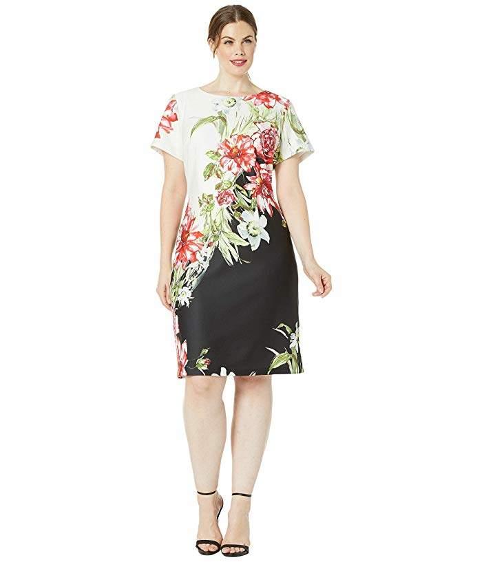 Plus Size Cap Sleeve Printed Scuba A-Line Dress