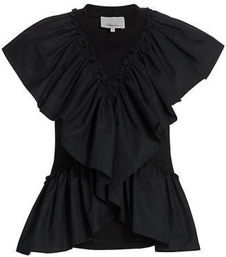 3.1 Phillip Lim Butterfly-Ruffle Cotton T-Shirt