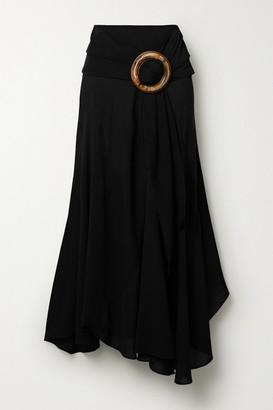 Silvia Tcherassi Flama Asymmetric Crepe Skirt - Black