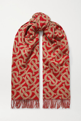 Burberry Fringed Cashmere-jacquard Scarf - Red
