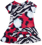 Kenzo Animal-Print Tiered Dress, Pink, Size 12-18 Months
