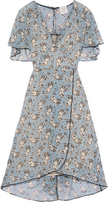Anna Sui Wrap-effect Printed Silk-chiffon Dress