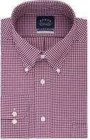 Eagle Men's Classic/Regular Fit Stretch Collar Non-Iron Burgundy Gingham Dress Shirt