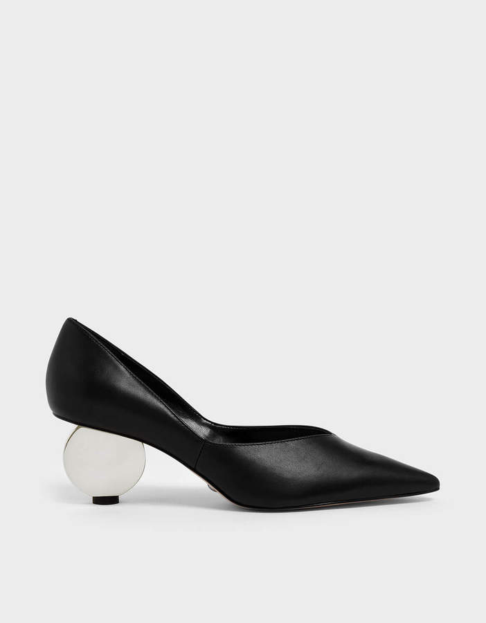 dabc8d57fbf V-Cut Sculptural Heel Leather Pumps