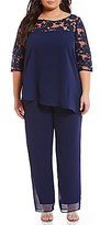 Le Bos Plus Sequined Lace Tunic 2-Piece Pant Set