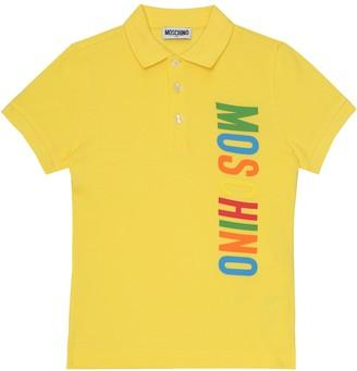 MOSCHINO BAMBINO Logo cotton-pique polo shirt