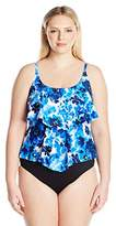 Maxine Of Hollywood Women's Plus Size Floral Crush Double-Tier Swimsuit Tankini Top With Adjustable Straps