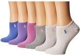Lauren Ralph Lauren 6-Pack Flat Knit Ultra Low Cut Socks Women's Crew Cut Socks Shoes