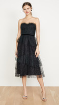 Marchesa Strapless Glitter Tulle Gown
