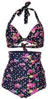 Spring fever Retro 50s Elegant Vintage High Waist Bikini Swimsuit Swimwear(FBA)