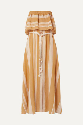 Lemlem Net Sustain Derartu Strapless Striped Cotton-gauze Maxi Dress - Neutral