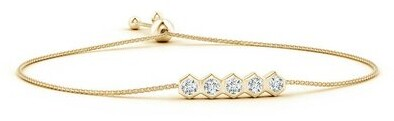 Thumbnail for your product : Natori Indochine 14k 5-Hexagon Diamond Bar Bolo Bracelet