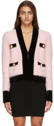 Balmain Pink and Black Velvet Trimmed Jacket