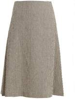 Wales Bonner Safari gingham linen-blend midi skirt