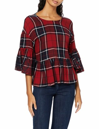 Find. Amazon Brand Women's Check Embroidered Swing Blouse