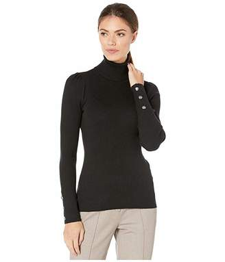 Lauren Ralph Lauren Puff-Sleeve Turtleneck Sweater (Polo Black) Women's Sweater