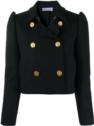 RED Valentino Crop Puff-Sleeve Woven Jacket