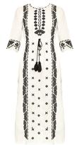 Figue Liana embroidered cotton-poplin midi dress
