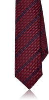 Barneys New York Men's Striped Textured-Weave Silk Necktie
