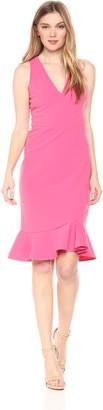 Betsey Johnson Women's Stretch Crepe Dress with Ruffled Hem