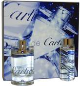 Cartier Eau De by for Unisex Gift Set 3.3 Ounce EDT Spray, 3.3 Ounce All Over Shampoo