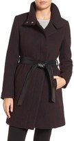 Andrew Marc Brushed Twill Coat with Faux Leather Belt