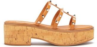 Valentino Rockstud Cork Platform Sandals - Womens - Tan