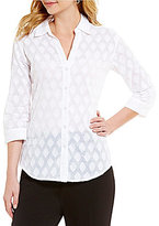 Allison Daley Petites Clip Jacquard Button Front Blouse Blouse