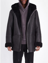 Yeezy Hooded shearling leather coat