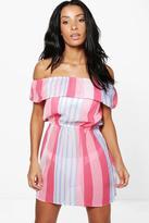 Boohoo Holly Candystripe Bardot Beach Dress