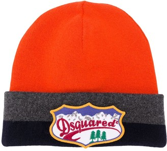DSQUARED2 Colour Block Logo Plaque Beanie