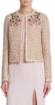 Giambattista Valli Coral Tweed Embroidered Jacket