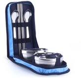 DU&HL Stainless steel bowlhopstiks set, double anti-hot home rie bowl, portable tablewarehildren'shopstiks travel suit