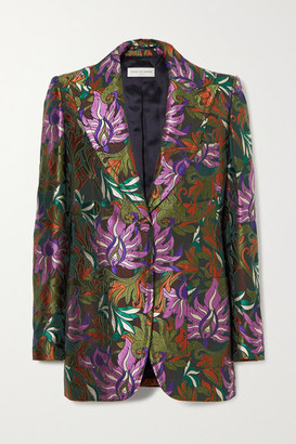 Dries Van Noten Bailey Floral-jacquard Blazer - Army green
