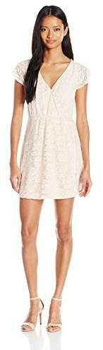 My Michelle Sequin Hearts by Juniors Cap Sleeve Lace Fit and Flare Dress