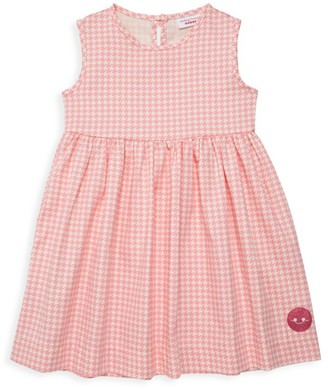 Smiling Button Little Girl's & Girl's Houndstooth Print Dress